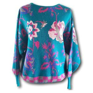 80s VTG Oversize Floral Slouchy Sweater SZ Large